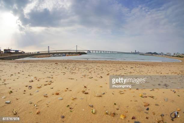Dalian Xinghai Bay Bridge and sandbeach