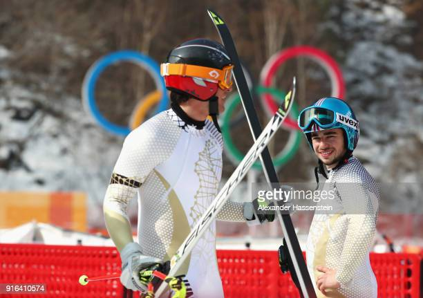Dalibor Samsal and Marton Kekesi of Hungary talk after making a run during the Men's Downhill 3rd Training on day one of the PyeongChang 2018 Winter...