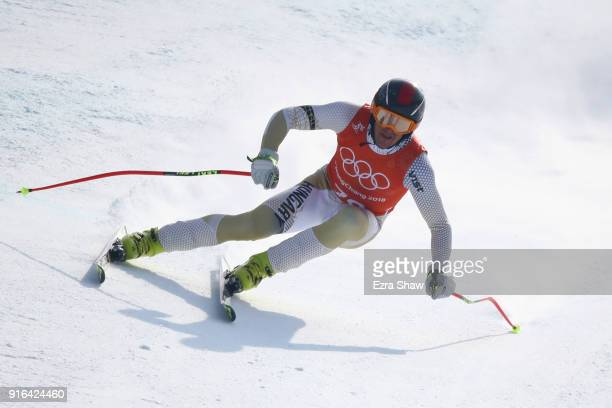 Dalibor Samsal of Hungary makes a run during the Men's Downhill 3rd Training on day one of the PyeongChang 2018 Winter Olympic Games at Jeongseon...