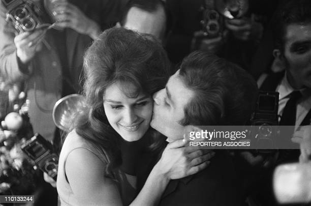 Dalida and his brother Orlando at backstage after Dalida's show at Olympia in December,1961.