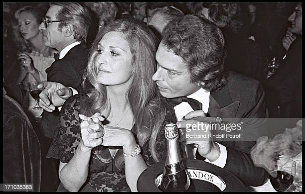 Dalida and Richard Chanfray aka Le Count of Saint Germain Caroline Cellier and Jean Poiret at Party At Paradis Latin Cabaret In 1977