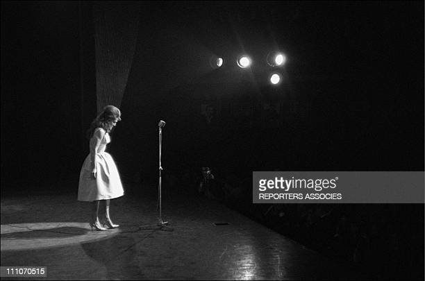 Dalida on stage at the Olympia in Paris, France in December, 1961.