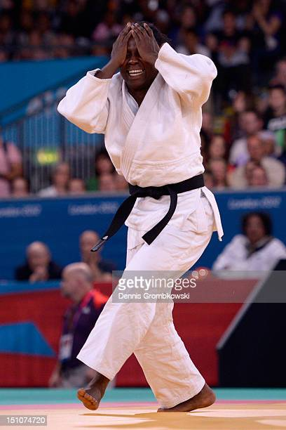 Dalidaivis Rodriguez Clark of Cuba celebrates after winning the Women's 63kg Judo Gold Medal Contest on day 2 of the London 2012 Paralympic Games at...