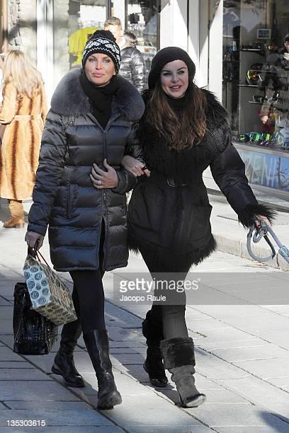 Dalila Di Lazzaro and Alba Parietti are seen on December 8 2011 in Courmayeur Italy