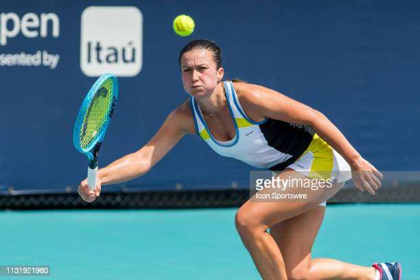 Dalila Jakupovic in action during the Miami Open on March 20 2019 at Hard Rock Stadium in Miami Gardens FL
