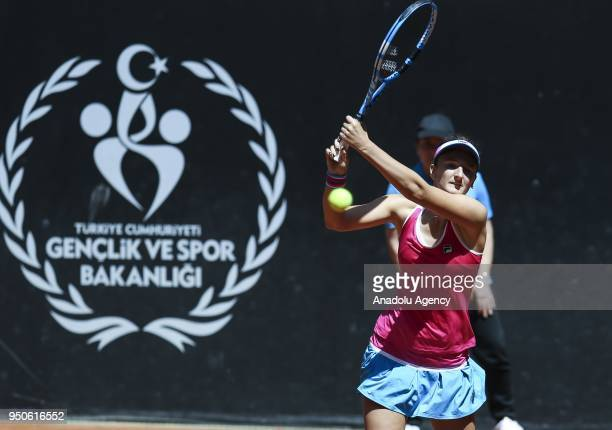 Dalila Jakupovic of Slovenia in action against Irina Camelia of Romania during the TEB BNP Paribas Istanbul Cup tennis match at Garanti Koza Park in...