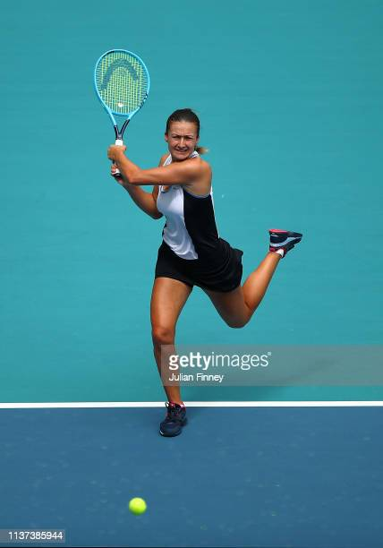 Dalila Jakupovic of Slovenia in action against Venus Williams of USA during day four of the Miami Open tennis on March 21 2019 in Miami Gardens...