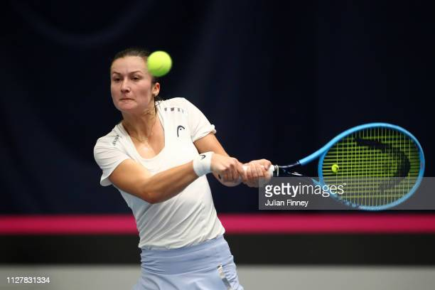 Dalila Jakupovic of Slovenia plays a backhand shot her round robin match against Johanna Konta of Great Britain during Day One of the Fed Cup 2019 at...