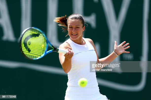 Dalila Jakupovic of Slovenia plays a forehand during her QuarterFinal match against Magdalena Rybarikova of Slovakia during Day Seven of the Nature...