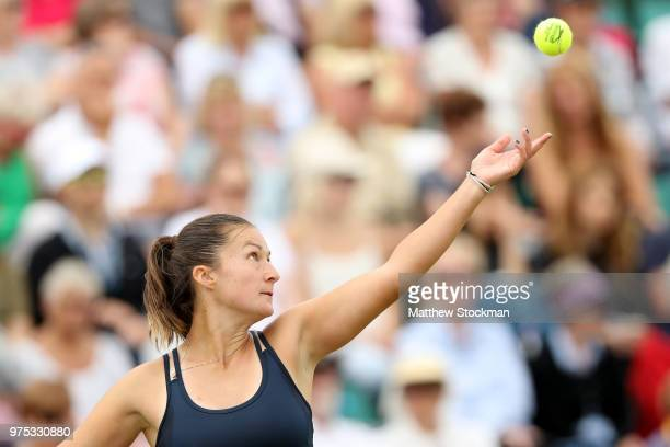 Dalila Jakupovic of Slovenia serves during her women's singles match against Johanna Konta of Great Britain on Day Seven of the Nature Valley Open at...