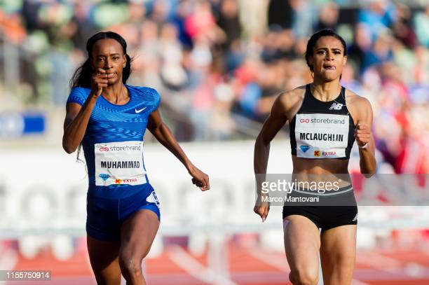 Dalilah Muhammad and Sydney McLaughlin compete in women's 400m Hurdles at Bislett Stadium during a Diamond League event during a Diamond League event...