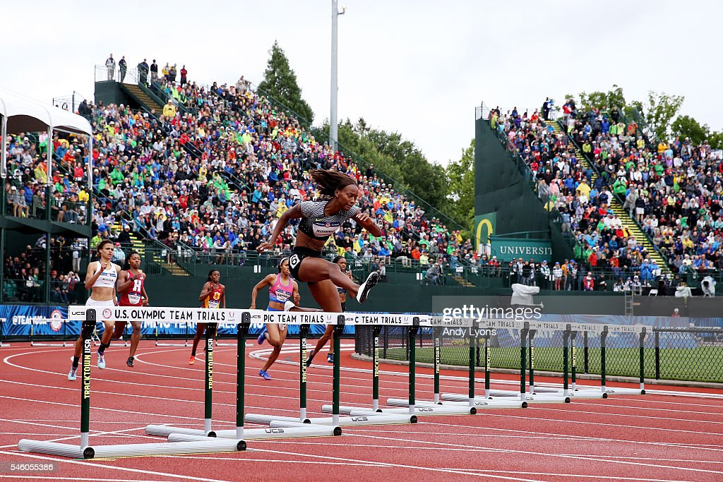 Dalilah Muhammad competes in the Women's 400 Meter Hurdles Final during the 2016 U.S. Olympic Track & Field Team Trials at Hayward Field on July 10, 2016 in Eugene, Oregon.