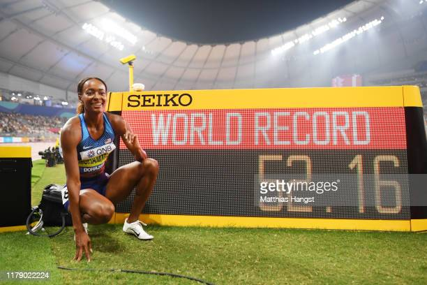 Dalilah Muhammad of the United States poses after setting a new world record and winning gold in the Women's 400 metres hurdles final during day...