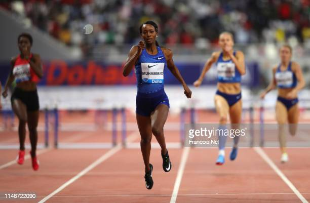 Dalilah Muhammad of the United States races to the finish line to win the Women's 400 metres hurdles during the IAAF Diamond League event at the...