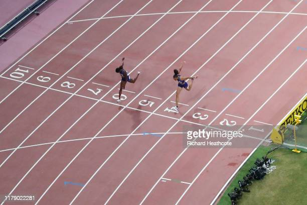 Dalilah Muhammad of the United States wins gold and Sydney McLaughlin of the United States wins silver in the Women's 400 metres hurdles final during...