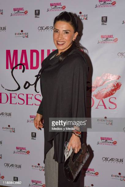 Dalilah Polanco poses for photos before 100th shows celebration of 'Maduras Solteras y Desesperadas' red carpet at San Rafael Theatre on November 5...