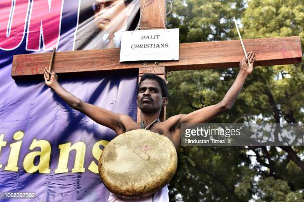 Dalit Christian during the Drum Dance Demonstration Beating to demand SC status for Dalit Christians and Dalit Muslims at Jantar Mantar, on December...