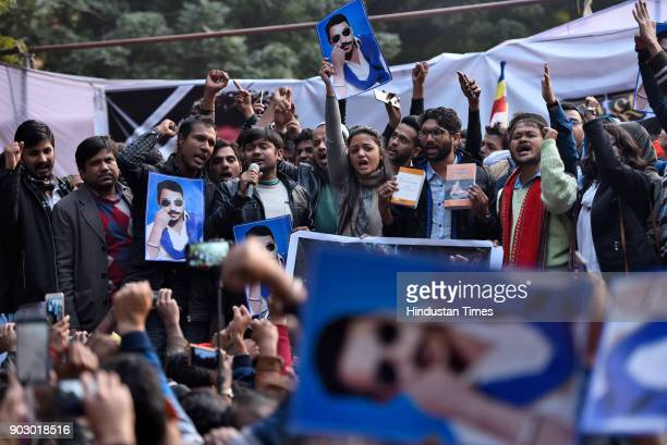 Dalit leader and Gujarat lawmaker Jignesh Mevani with others at Jantar Mantar during Hunkar Rally to release Bhim Army chief Chandrashekhar Azad...