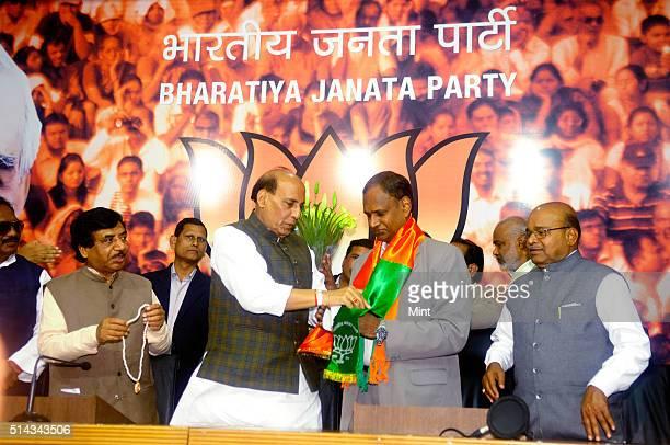 Dalit leader Udit Raj joins BJP in the presence of Rajnath Singh on February 24, 2014 in New Delhi, India.