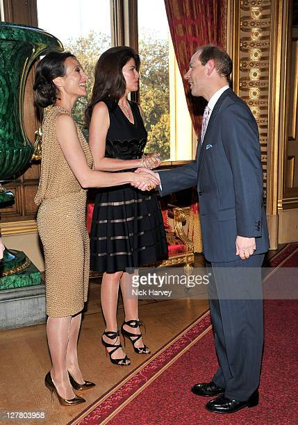 Dalit Nuttal Christina Juffali and Prince Edward Earl of Wessex attend a Royal Reception for 'Films without Borders' at Windsor Castle on May 9 2011...