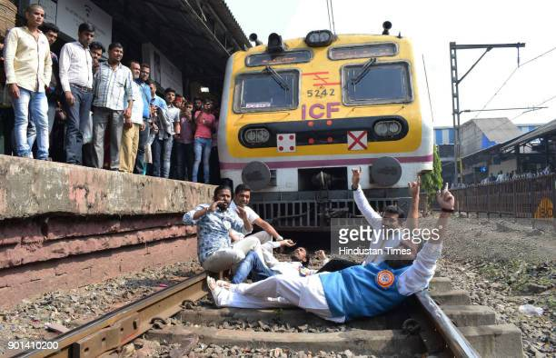 Dalit Panther members protest Rail Roko at Thane railway station and demand arrested of Sambhaji Bhide and Milind Ekbote on January 4 2018 in Mumbai...