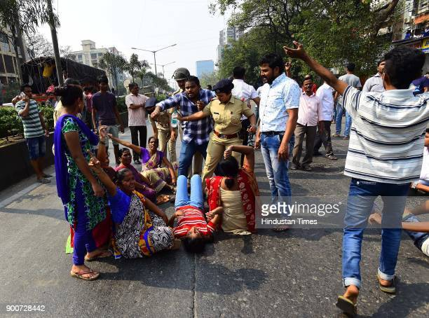 Dalit protesters block Sion Panvel highway at Chembur after the clashes between Dalit groups and supporters of rightwing Hindutva organisations broke...