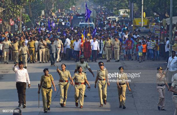 Dalit protesters protest at Amar Mahal Chembur after the clashes between Dalit groups and supporters of rightwing Hindutva organisations broke out...
