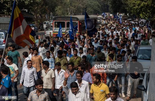 Dalit protesters protest at Powai after the clashes between Dalit groups and supporters of rightwing Hindutva organisations broke out during the...