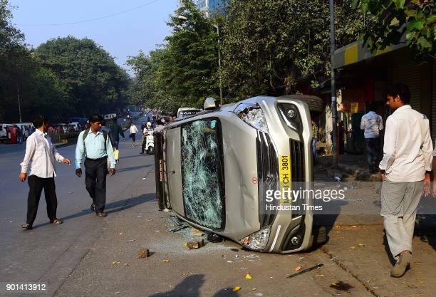 Dalit protesters vandalized vehicles at Vikroli LBS and demand arrested of Sambhaji Bhide and Milind Ekbote on January 4 2018 in Mumbai India Bharipa...