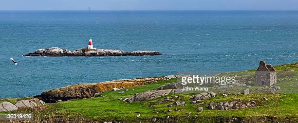 dalkey island and lighthouse in ireland - dalkey stock pictures, royalty-free photos & images