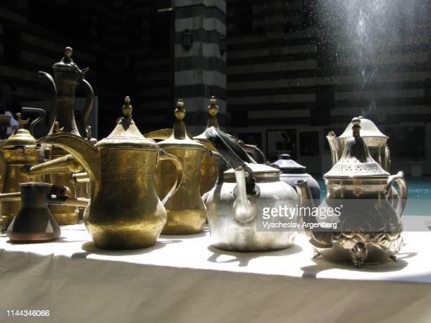 dallah, arabic teapots, damascus, syria - argenberg fotografías e imágenes de stock