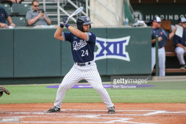 Dallas Baptist outfielder Austin Listi stands in the batters box during the NCAA Division 1 baseball tournament regional game between Dallas Baptist...