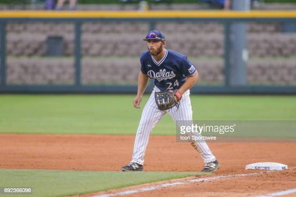Dallas Baptist outfielder Austin Listi takes a ready position during the NCAA Division 1 baseball tournament regional game between Dallas Baptist...