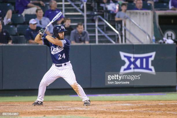 Dallas Baptist outfielder Austin Listi watches the pitch during the NCAA Division 1 baseball tournament regional game between Dallas Baptist...