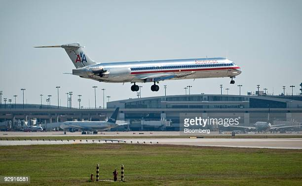 A Dallas based American Airlines jet makes its final approach to land at DallasFort Worth International Airport in Dallas Texas US Thursday Nov 2009...