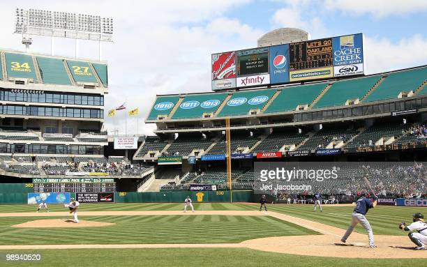Dallas Braden of the Oakland Athletics pitches to Gabe Kapler of the Tampa Bay Rays for the last out of his perfect game during an MLB game at the...