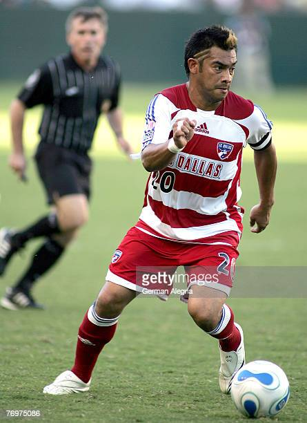 Dallas Carlos Ruiz in action against the Los Angeles Galaxy defensive line during today's match at the Home Depot Center on September 23 2007 in...