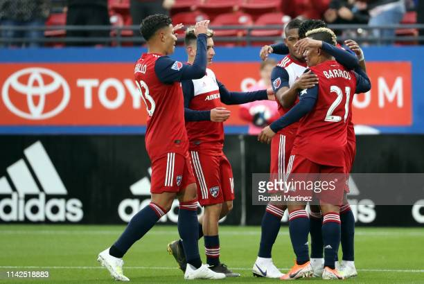 Dallas celebrates a goal by Jesus Ferreira in the first half against the Portland Timbers at Toyota Stadium on April 13 2019 in Frisco Texas