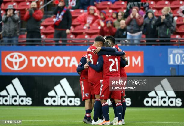 Dallas celebrates a goal by Jesus Ferreira in the first half against the Portland Timbers at Toyota Stadium on April 13, 2019 in Frisco, Texas.