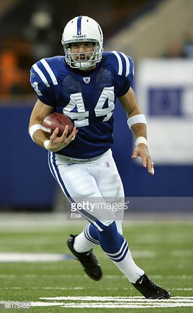 Dallas Clark of the Indianapolis Colts carries the ball during the NFL game with the Houston Texans on November 13, 2005 at the RCA Dome in...