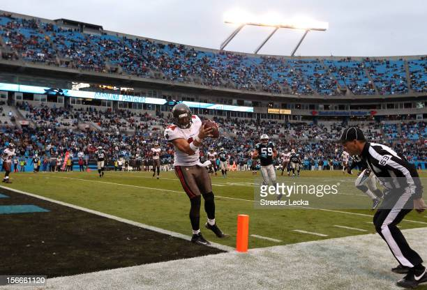 Dallas Clark of the Tampa Bay Buccaneers catches the game winning touchdown in overtime during their game against the Carolina Panthers at Bank of...