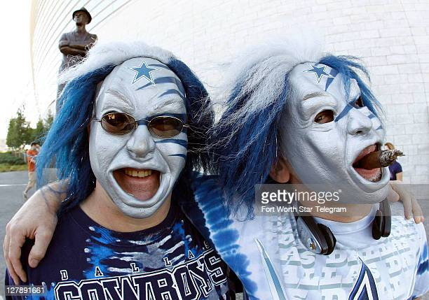 Dallas Cowboy fans Walter Rubacha and Rene Leveille came from Conneticute for the game posing in their blue and silver Halloween masks near Tom...