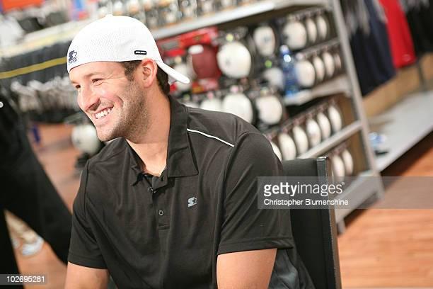 Dallas Cowboy quarterback and Starter spokesperson Tony Romo signs autographs at Walmart on July 7 2010 in Arlington Texas