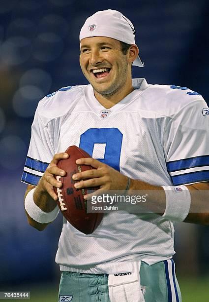 Dallas Cowboy quarterback Tony Romo enjoys a light moment prior to the preseason NFL game against the Minnesota Vikings on August 30, 2007 at the...