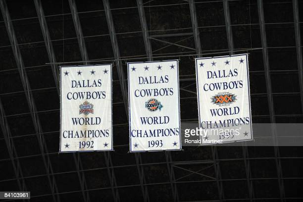 Dallas Cowboy Super Bowl banners hang during the last home game against the Baltimore Ravens on December 20 2008 in Irving Texas The Cowboys are...