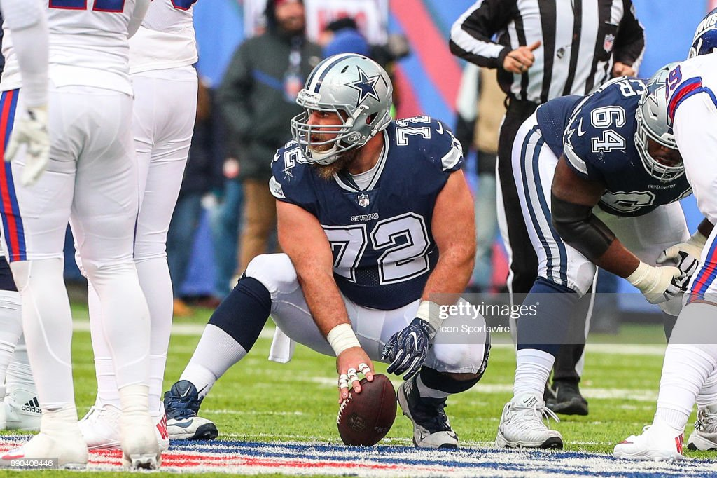 Dallas Cowboys center Travis Frederick (72) during the National Football League game between the New York Giants and the Dallas Cowboys on December 10, 2017, at MetLife Stadium in East Rutherford, NJ.