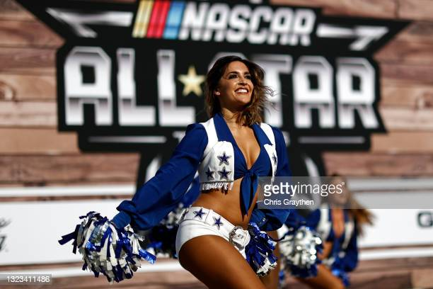 Dallas Cowboys cheerleader perform during pre-race ceremonies prior to the NASCAR All-Star Race at Texas Motor Speedway on June 13, 2021 in Fort...