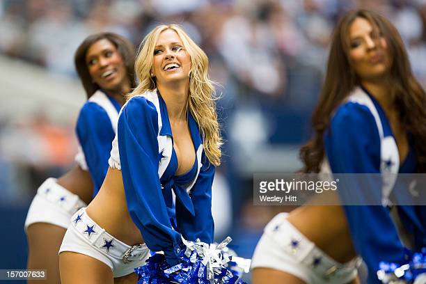 Dallas Cowboys cheerleader performs during a game against the Cleveland Browns at Cowboys Stadium on November 18 2012 in Arlington Texas The Cowboys...