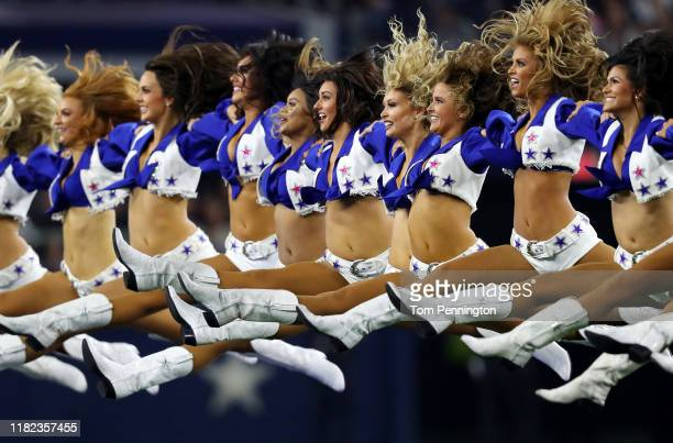 Dallas Cowboys cheerleaders perform before the game between the Dallas Cowboys and the Philadelphia Eagles at ATT Stadium on October 20 2019 in...