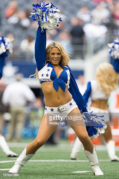Dallas Cowboys cheerleaders perform during a game against the Cleveland Browns at Cowboys Stadium on November 18 2012 in Arlington Texas The Cowboys...